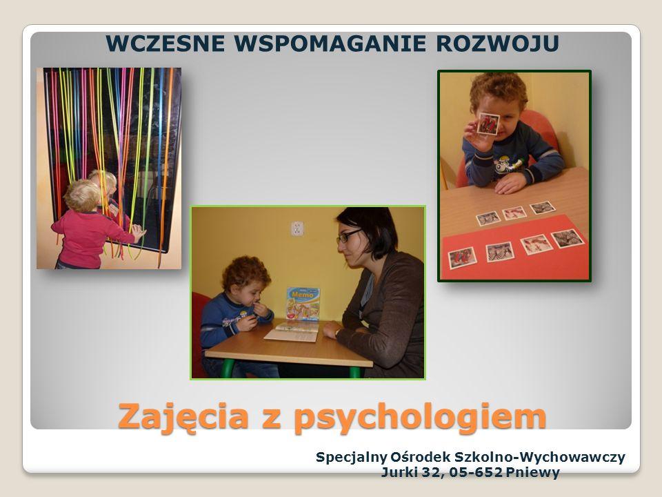 Zespół Wczesnego Wspomagania Rozwoju Dziecka tworzą specjaliści posiadający przygotowanie do pracy z małymi dziećmi o zaburzonym rozwoju psychoruchowym: pedagog,psycholog, logopeda,rehabilitant Zespół Wczesnego Wspomagania Rozwoju Dziecka tworzą specjaliści posiadający przygotowanie do pracy z małymi dziećmi o zaburzonym rozwoju psychoruchowym: pedagog,psycholog, logopeda,rehabilitant Specjalny Ośrodek Szkolno-Wychowawczy Jurki 32, 05-652 Pniewy