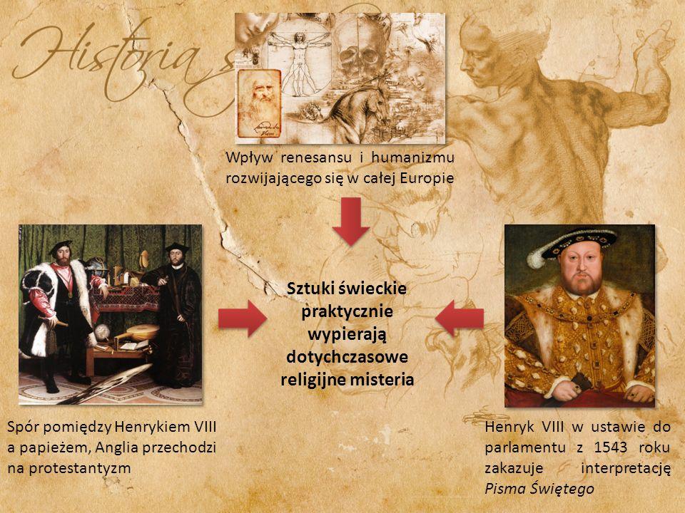 Wpływ renesansu i humanizmu rozwijającego się w całej Europie Spór pomiędzy Henrykiem VIII a papieżem, Anglia przechodzi na protestantyzm Henryk VIII