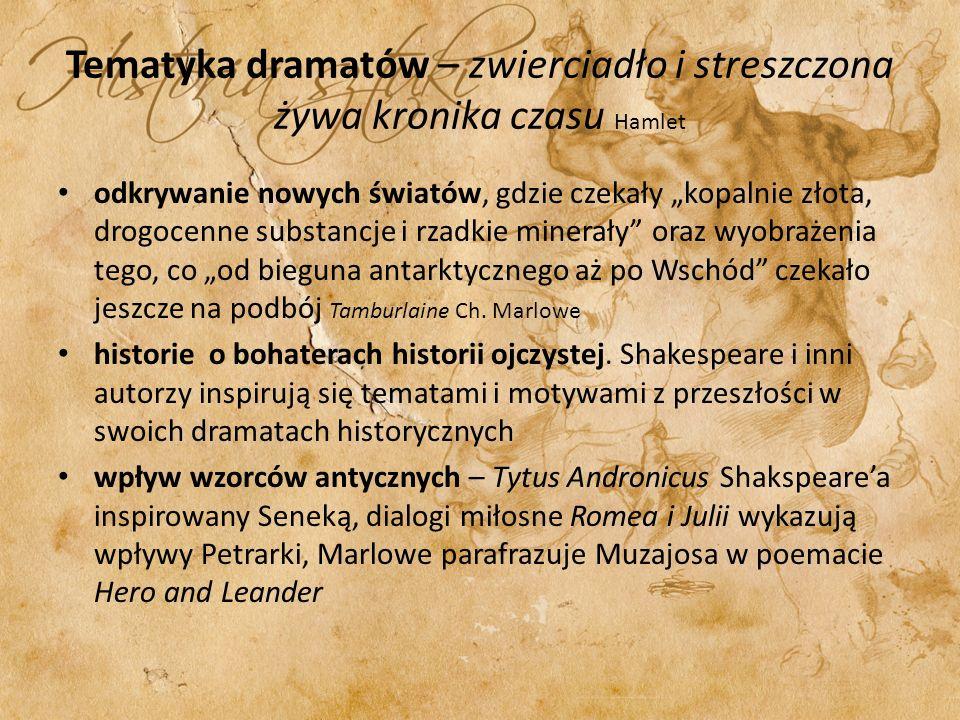 Tematyka dramatów – zwierciadło i streszczona żywa kronika czasu Hamlet odkrywanie nowych światów, gdzie czekały kopalnie złota, drogocenne substancje