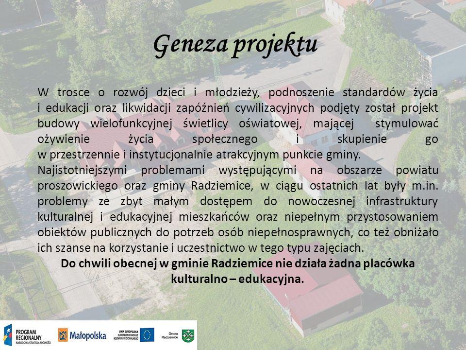 Geneza projektu W związku z powyższym powstała koncepcja budowy nowego budynku zaopatrzonego w nowoczesną, multimedialną infrastrukturę, dostosowanego przy tym do potrzeb osób niepełnosprawnych, który umożliwiłby pełniejsze dostosowanie oferty kulturalno – edukacyjnej do potrzeb rynku pracy i uwzględniłby w większym stopniu preferencje małopolskich regionu: organizowanie kursów języków obcych, szkolenia dla osób bezrobotnych, umożliwiające podniesienie kwalifikacji oraz przekwalifikowanie zawodowe, szkolenia dla rolników oraz kształtowaniau młodzieży odpowiednich cech osobowościowych (komunikatywności, kreatywności, samodzielności, operatywności).