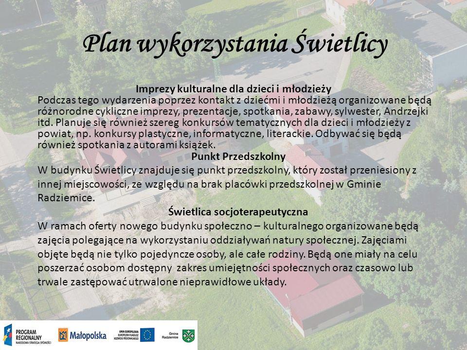 Plan wykorzystania Świetlicy Organizacja spotkań kulturalnych Planujemy zorganizować cykl spotkań kulturalnych pn.