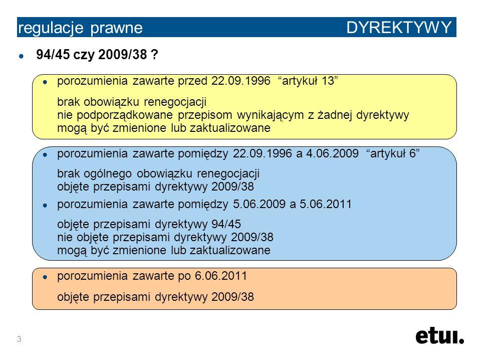 3 regulacje prawne DYREKTYWY 94/45 czy 2009/38 ? porozumienia zawarte przed 22.09.1996 artykuł 13 brak obowiązku renegocjacji nie podporządkowane prze