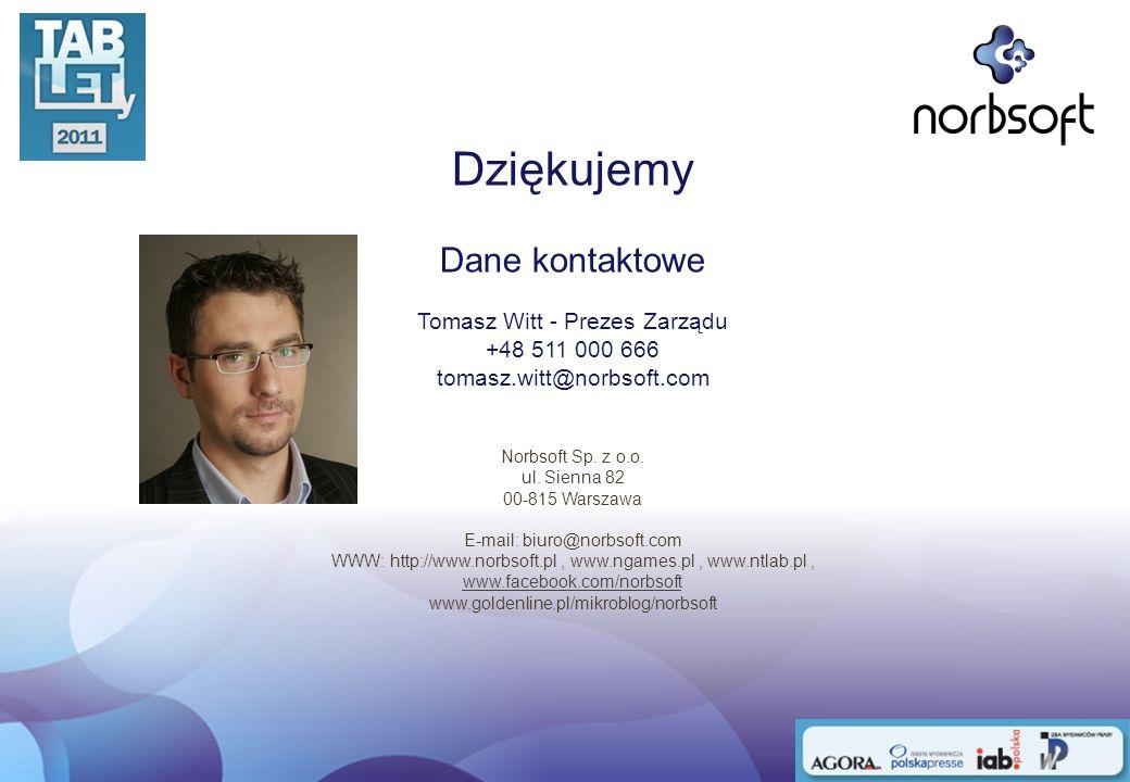 Dziękujemy Dane kontaktowe Tomasz Witt - Prezes Zarządu +48 511 000 666 tomasz.witt@norbsoft.com Norbsoft Sp. z o.o. ul. Sienna 82 00-815 Warszawa E-m