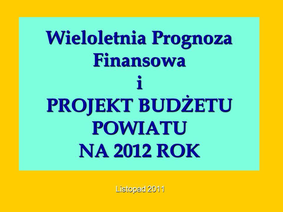 Wieloletnia Prognoza Finansowa i PROJEKT BUDŻETU POWIATU NA 2012 ROK Listopad 2011
