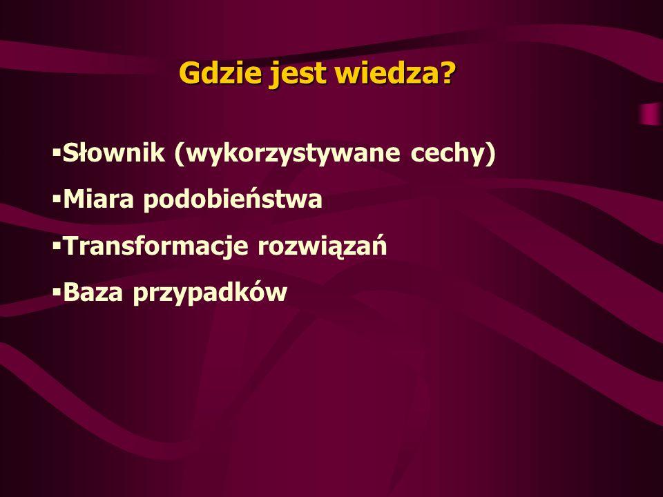 Gdzie jest wiedza? Słownik (wykorzystywane cechy) Miara podobieństwa Transformacje rozwiązań Baza przypadków