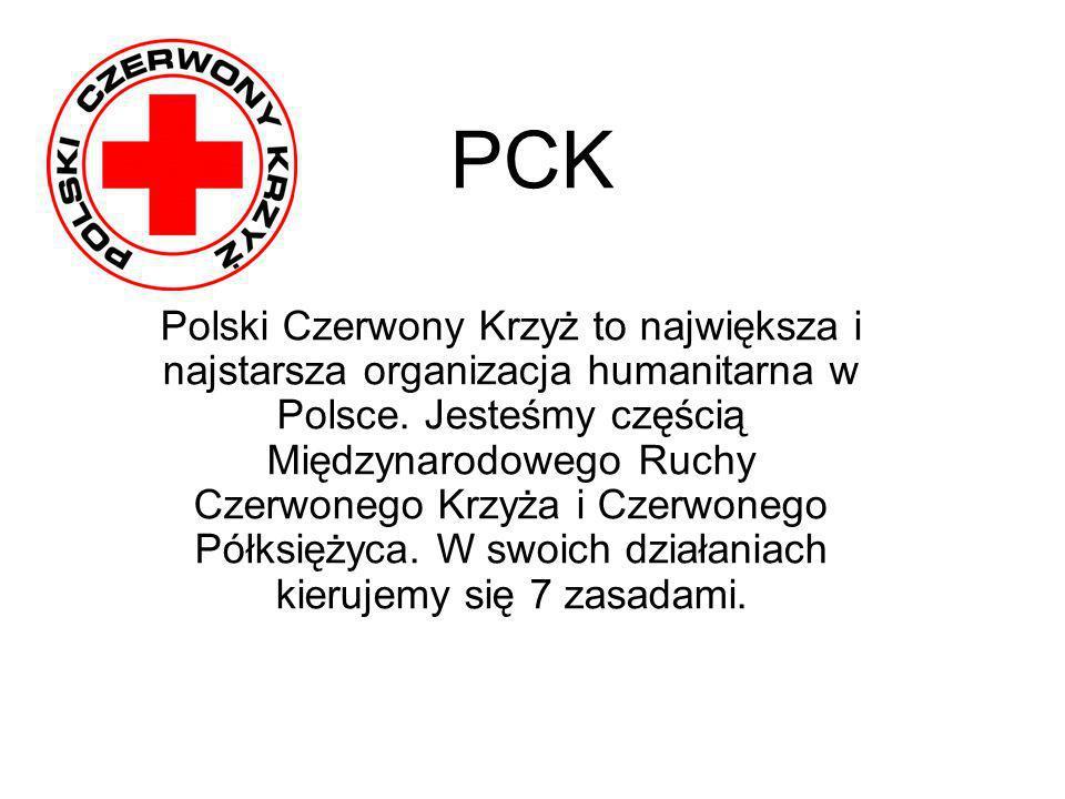 PCK Polski Czerwony Krzyż to największa i najstarsza organizacja humanitarna w Polsce. Jesteśmy częścią Międzynarodowego Ruchy Czerwonego Krzyża i Cze