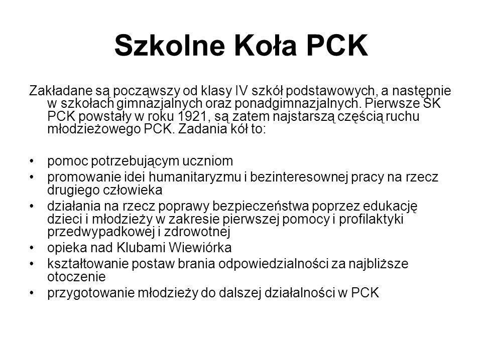 Szkolne Koła PCK Zakładane są począwszy od klasy IV szkół podstawowych, a następnie w szkołach gimnazjalnych oraz ponadgimnazjalnych. Pierwsze SK PCK