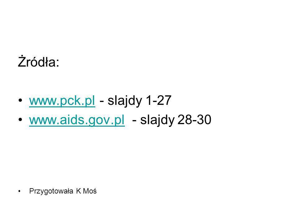 Żródła: www.pck.pl - slajdy 1-27www.pck.pl www.aids.gov.pl - slajdy 28-30www.aids.gov.pl Przygotowała K Moś