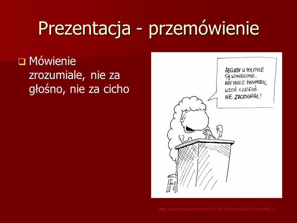 Prezentacja - przemówienie Mówienie zrozumiale, nie za głośno, nie za cicho http://bartrek.blox.pl/html/1310721,262146,169,170.html?66,-1