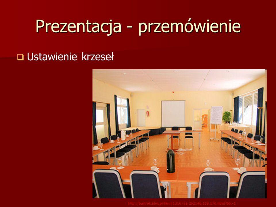 Prezentacja - przemówienie Ustawienie krzeseł http://bartrek.blox.pl/html/1310721,262146,169,170.html?66,-1