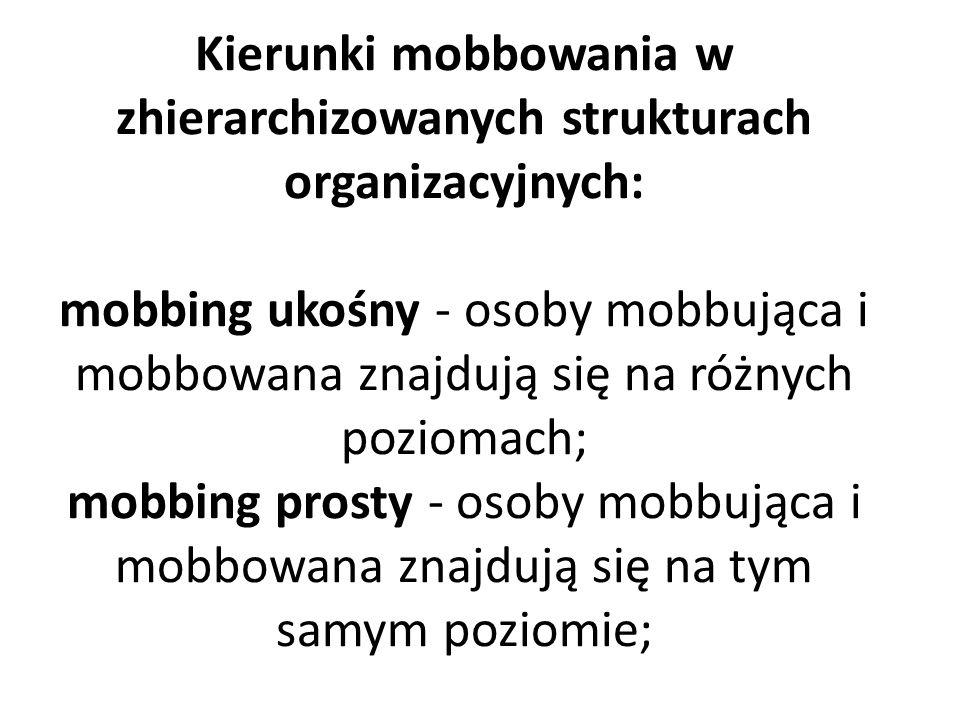 Kierunki mobbowania w zhierarchizowanych strukturach organizacyjnych: mobbing ukośny - osoby mobbująca i mobbowana znajdują się na różnych poziomach;