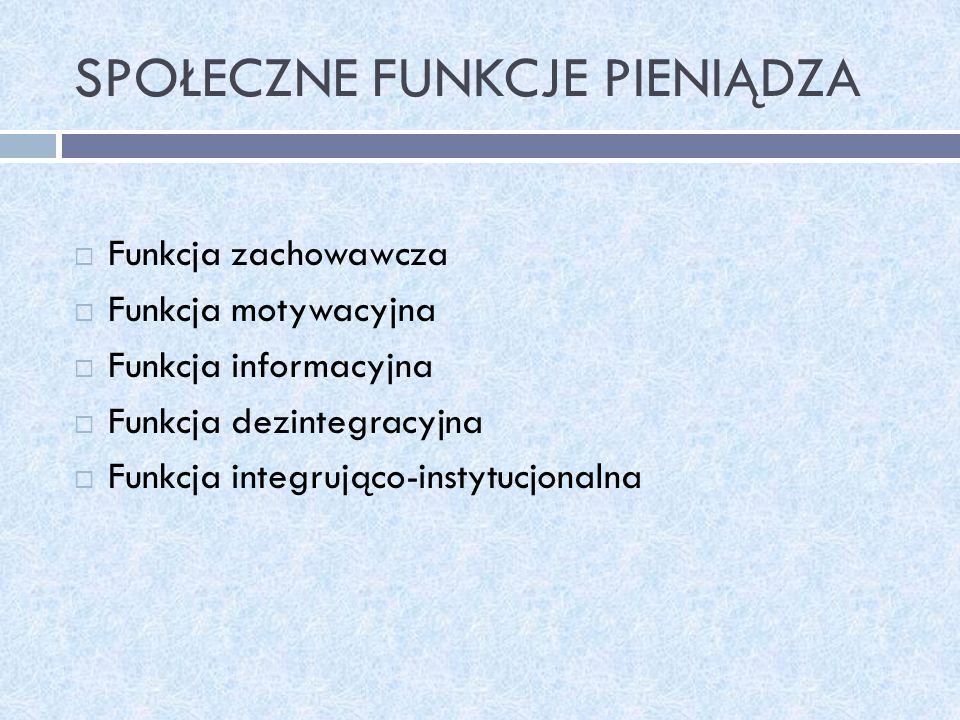 SPOŁECZNE FUNKCJE PIENIĄDZA Funkcja zachowawcza Funkcja motywacyjna Funkcja informacyjna Funkcja dezintegracyjna Funkcja integrująco-instytucjonalna