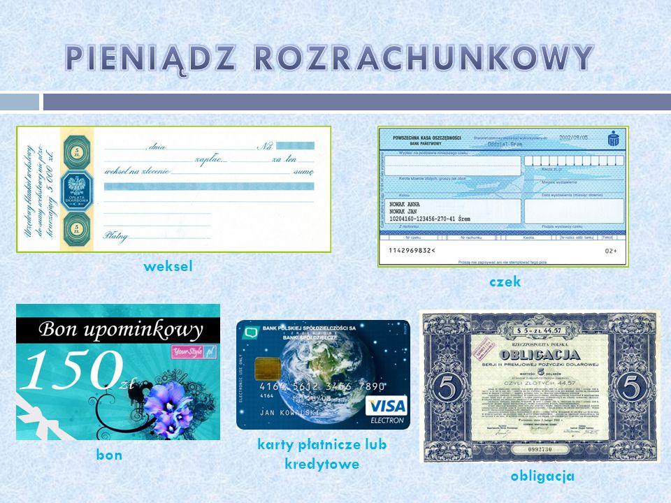 weksel czek bon karty płatnicze lub kredytowe obligacja