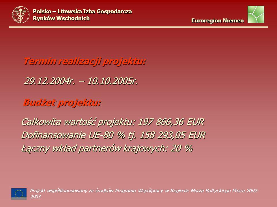 Termin realizacji projektu: Termin realizacji projektu: 29.12.2004r. – 10.10.2005r. 29.12.2004r. – 10.10.2005r. Budżet projektu: Budżet projektu: Całk