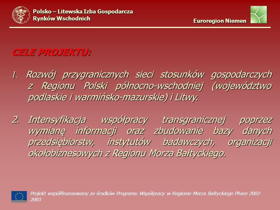 CELE PROJEKTU: 1. Rozwój przygranicznych sieci stosunków gospodarczych z Regionu Polski północno-wschodniej (województwo podlaskie i warmińsko-mazursk