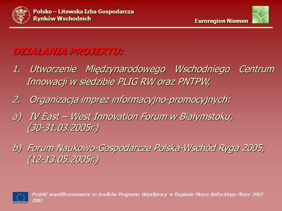 DZIAŁANIA PROJEKTU: 1. Utworzenie Międzynarodowego Wschodniego Centrum Innowacji w siedzibie PLIG RW oraz PNTPW, 2. Organizacja imprez informacyjno-pr