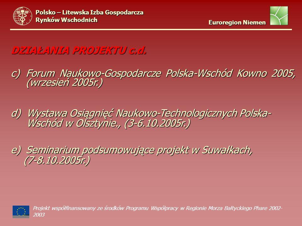 DZIAŁANIA PROJEKTU c.d. c)Forum Naukowo-Gospodarcze Polska-Wschód Kowno 2005, (wrzesień 2005r.) d) Wystawa Osiągnięć Naukowo-Technologicznych Polska-
