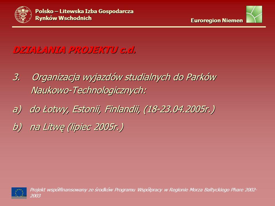 DZIAŁANIA PROJEKTU c.d. 3. Organizacja wyjazdów studialnych do Parków Naukowo-Technologicznych: a) do Łotwy, Estonii, Finlandii, (18-23.04.2005r.) b)