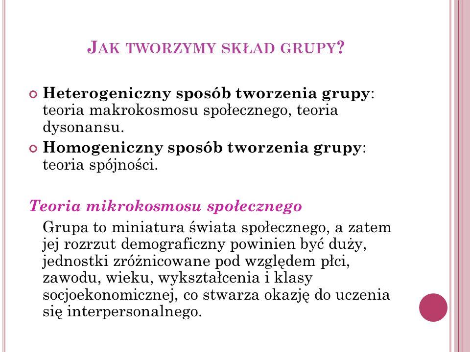 J AK TWORZYMY SKŁAD GRUPY ? Heterogeniczny sposób tworzenia grupy : teoria makrokosmosu społecznego, teoria dysonansu. Homogeniczny sposób tworzenia g