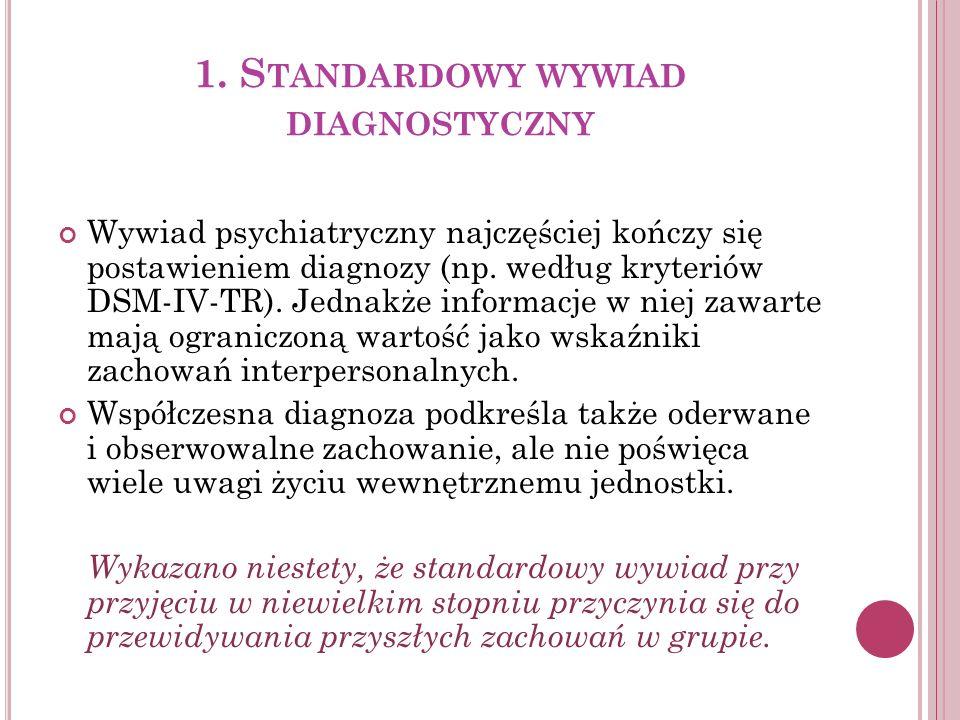 1. S TANDARDOWY WYWIAD DIAGNOSTYCZNY Wywiad psychiatryczny najczęściej kończy się postawieniem diagnozy (np. według kryteriów DSM-IV-TR). Jednakże inf