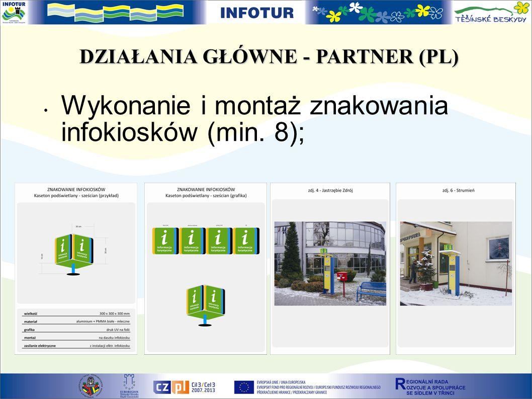 DZIAŁANIA GŁÓWNE - PARTNER (PL) Wykonanie i montaż znakowania infokiosków (min. 8);