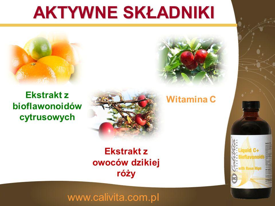 AKTYWNE SKŁADNIKI Ekstrakt z bioflawonoidów cytrusowych Ekstrakt z owoców dzikiej róży Witamina C www.calivita.com.pl