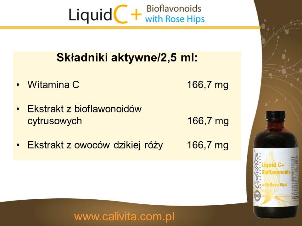 Składniki aktywne/2,5 ml: Witamina C 166,7 mg Ekstrakt z bioflawonoidów cytrusowych 166,7 mg Ekstrakt z owoców dzikiej róży 166,7 mg www.calivita.com.pl