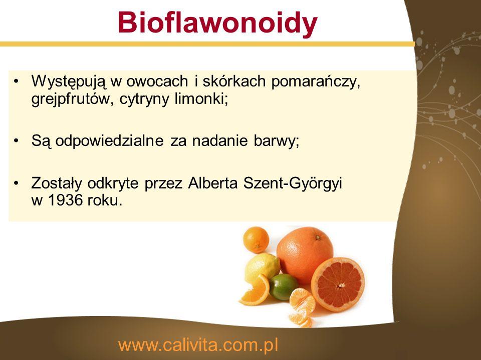 Bioflawonoidy Występują w owocach i skórkach pomarańczy, grejpfrutów, cytryny limonki; Są odpowiedzialne za nadanie barwy; Zostały odkryte przez Alberta Szent-Györgyi w 1936 roku.