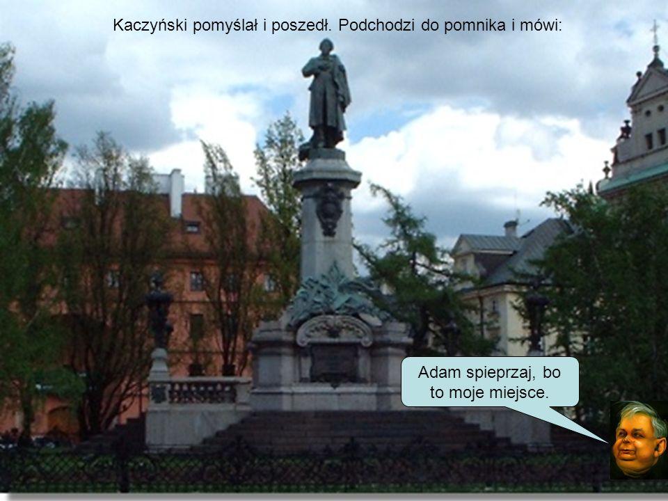 Kaczyński pomyślał i poszedł. Podchodzi do Kopernika i mówi: Kopernik spadaj, bo ja tu będę miał pomnik. No co Ty, tutaj mały ruch, nikt nie chodzi, k