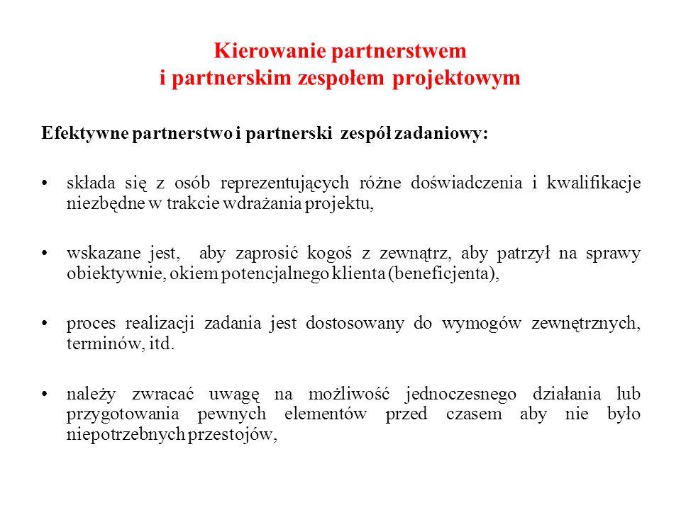 Kierowanie partnerstwem i partnerskim zespołem projektowym Efektywne partnerstwo i partnerski zespół zadaniowy: składa się z osób reprezentujących róż