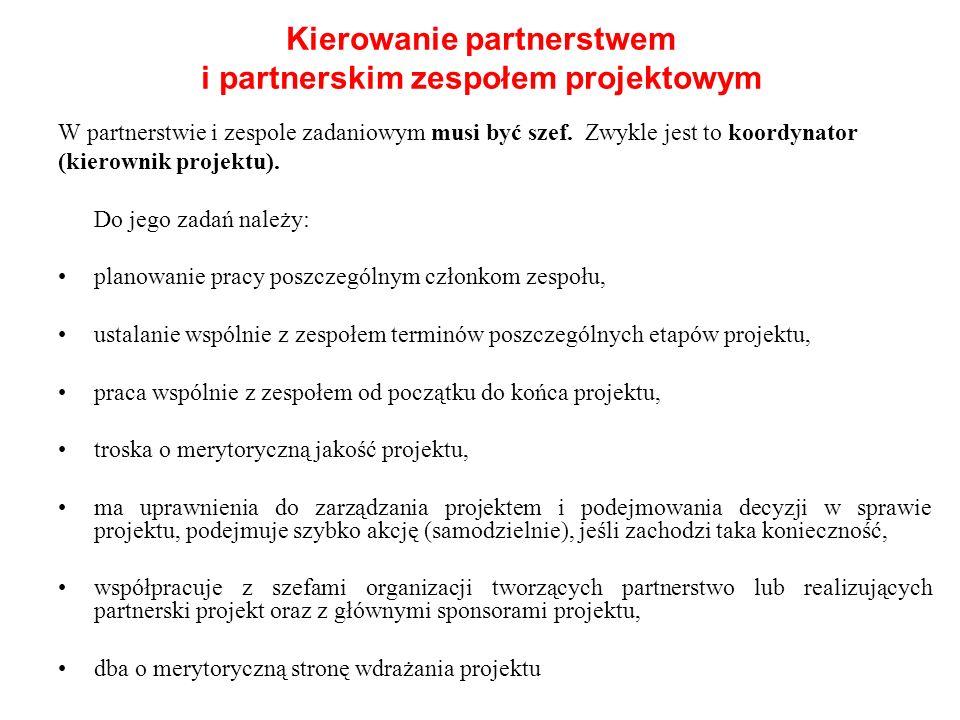 W partnerstwie i zespole zadaniowym musi być szef. Zwykle jest to koordynator (kierownik projektu). Do jego zadań należy: planowanie pracy poszczególn