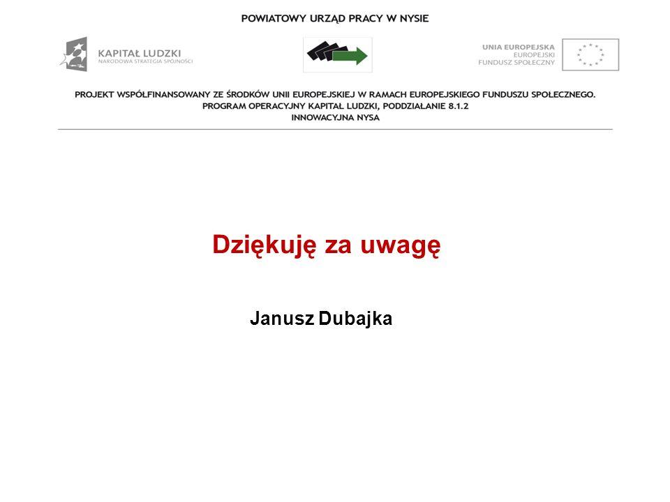 Prezentacja Dziękuję za uwagę Janusz Dubajka