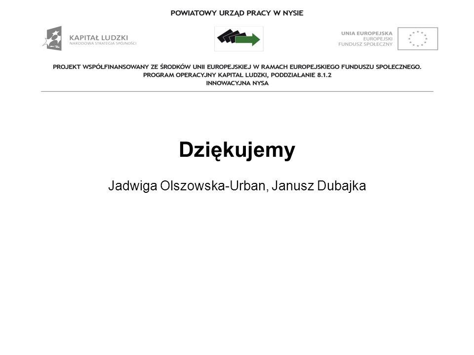 Dziękujemy Jadwiga Olszowska-Urban, Janusz Dubajka