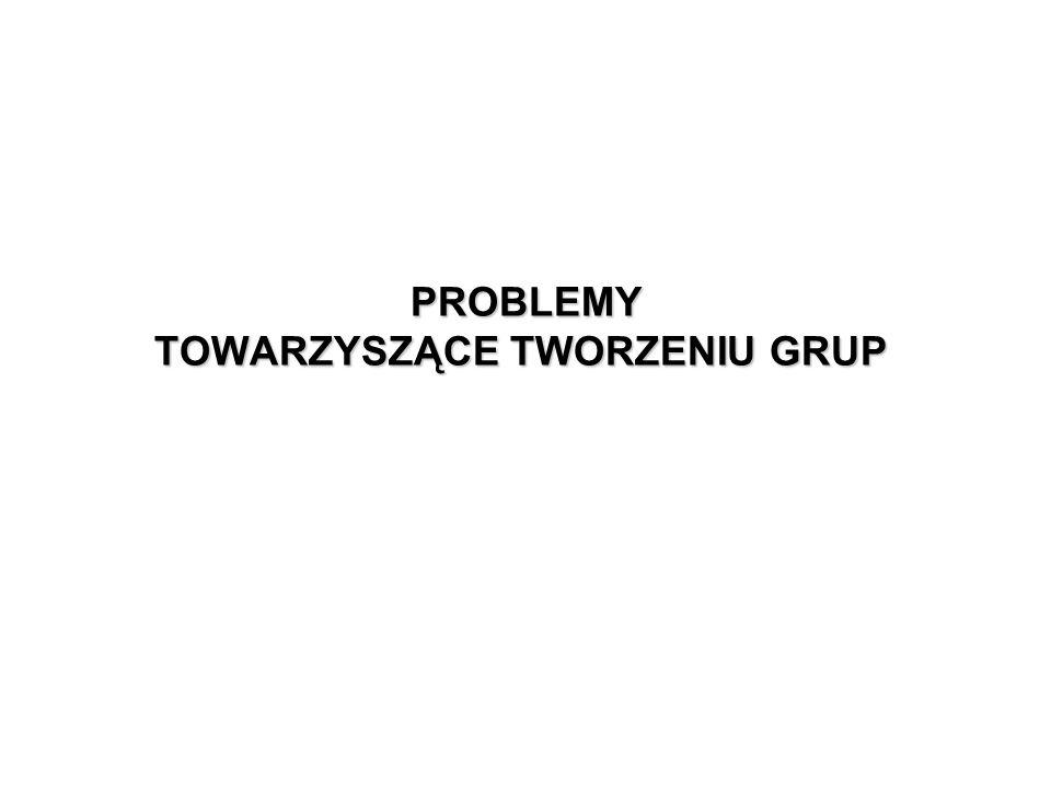 PROBLEMY TOWARZYSZĄCE TWORZENIU GRUP PROBLEMY TOWARZYSZĄCE TWORZENIU GRUP
