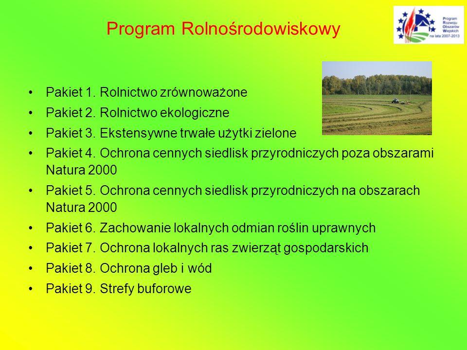 Pakiet 1. Rolnictwo zrównoważone Pakiet 2. Rolnictwo ekologiczne Pakiet 3. Ekstensywne trwałe użytki zielone Pakiet 4. Ochrona cennych siedlisk przyro