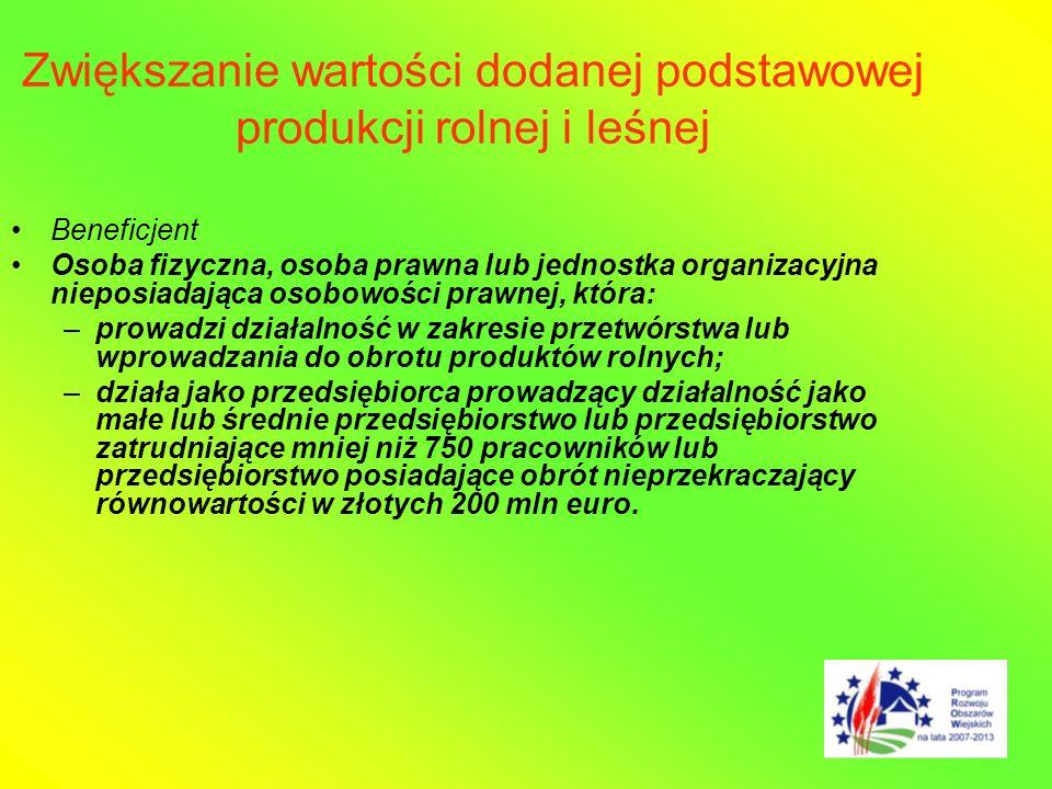 Zwiększanie wartości dodanej podstawowej produkcji rolnej i leśnej Beneficjent Osoba fizyczna, osoba prawna lub jednostka organizacyjna nieposiadająca