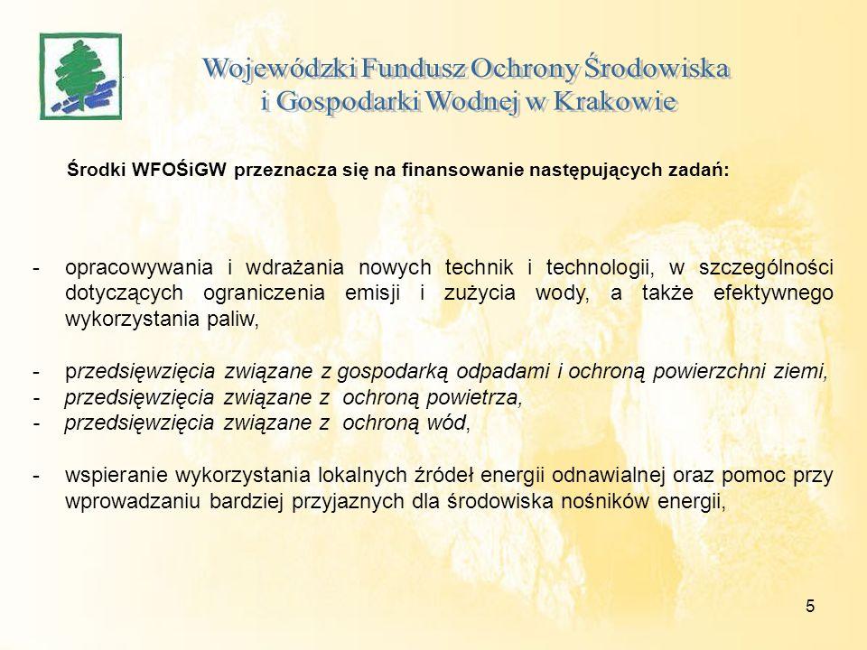 5 Środki WFOŚiGW przeznacza się na finansowanie następujących zadań: -opracowywania i wdrażania nowych technik i technologii, w szczególności dotyczących ograniczenia emisji i zużycia wody, a także efektywnego wykorzystania paliw, -przedsięwzięcia związane z gospodarką odpadami i ochroną powierzchni ziemi, - przedsięwzięcia związane z ochroną powietrza, - przedsięwzięcia związane z ochroną wód, -wspieranie wykorzystania lokalnych źródeł energii odnawialnej oraz pomoc przy wprowadzaniu bardziej przyjaznych dla środowiska nośników energii,