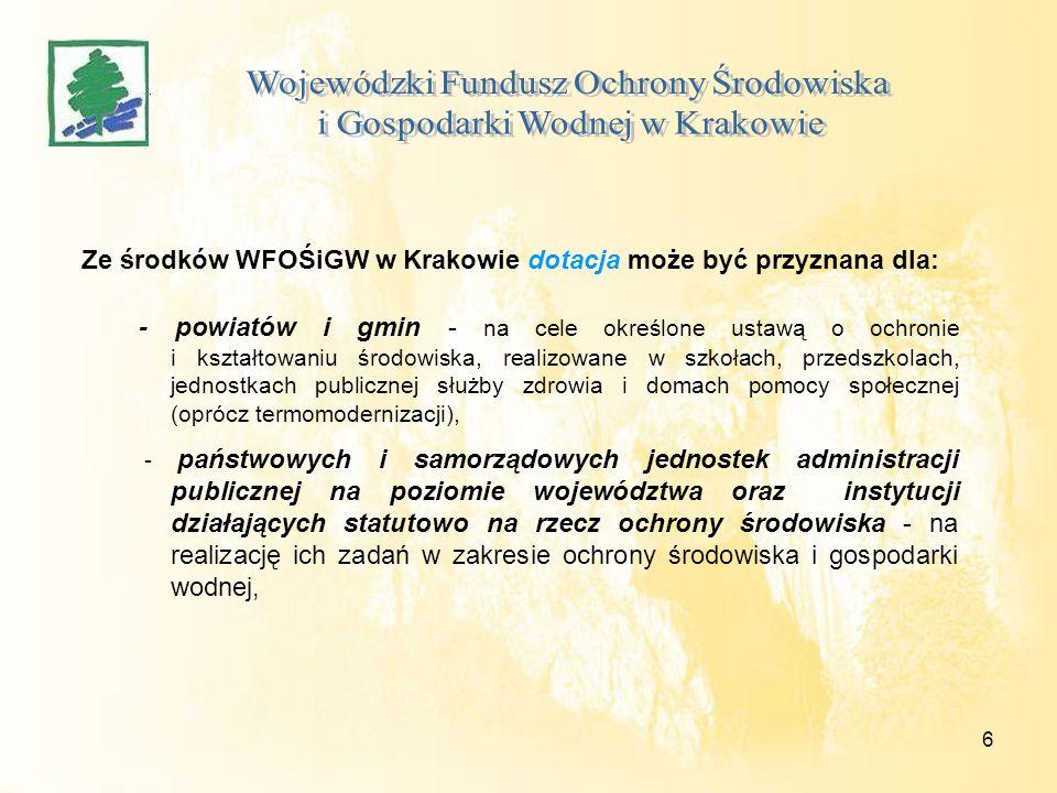 6 Ze środków WFOŚiGW w Krakowie dotacja może być przyznana dla: - powiatów i gmin - na cele określone ustawą o ochronie i kształtowaniu środowiska, realizowane w szkołach, przedszkolach, jednostkach publicznej służby zdrowia i domach pomocy społecznej (oprócz termomodernizacji), - państwowych i samorządowych jednostek administracji publicznej na poziomie województwa oraz instytucji działających statutowo na rzecz ochrony środowiska - na realizację ich zadań w zakresie ochrony środowiska i gospodarki wodnej,