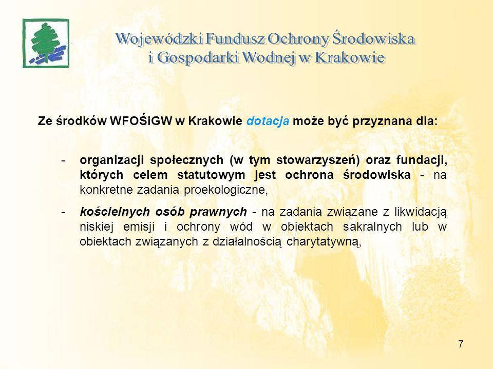 8 Ze środków WFOŚiGW w Krakowie dotacja może być przyznana dla: - jednostek organizacyjnych: państwowych i samorządu terytorialnego prowadzących działalność kulturalną na zadania związane z ochroną środowiska i gospodarką wodną, - wojewódzkich osób prawnych i wojewódzkich samorządowych jednostek organizacyjnych nie mających osobowości prawnej na zadania związane z ochroną środowiska i gospodarką wodną,