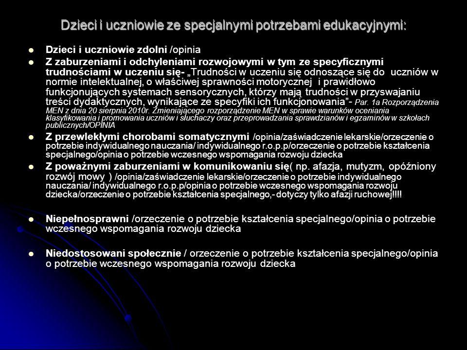 Uczniowie wymagający w procesie kształcenia specjalnej organizacji nauki i metod pracy pracy dydaktycznej ( kwalifikujący się do wydania orzeczenia o potrzebie kształcenia specjalnego) Rozporządzenie MENiS z dnia 18 stycznia 2005r.
