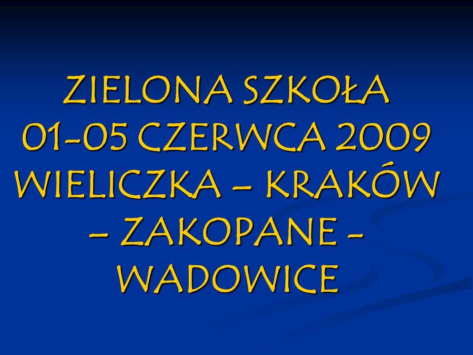 ZIELONA SZKOŁA 01-05 CZERWCA 2009 WIELICZKA – KRAKÓW – ZAKOPANE - WADOWICE