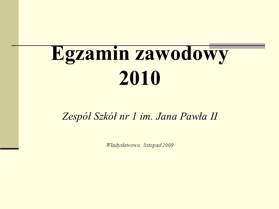 Egzamin zawodowy 2010 Zespół Szkół nr 1 im. Jana Pawła II Władysławowo, listopad 2009