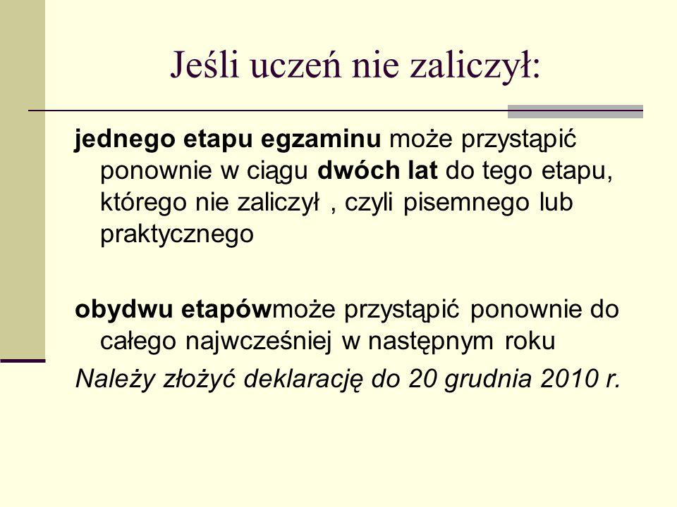 Jeśli uczeń nie zaliczył: jednego etapu egzaminu może przystąpić ponownie w ciągu dwóch lat do tego etapu, którego nie zaliczył, czyli pisemnego lub praktycznego obydwu etapówmoże przystąpić ponownie do całego najwcześniej w następnym roku Należy złożyć deklarację do 20 grudnia 2010 r.