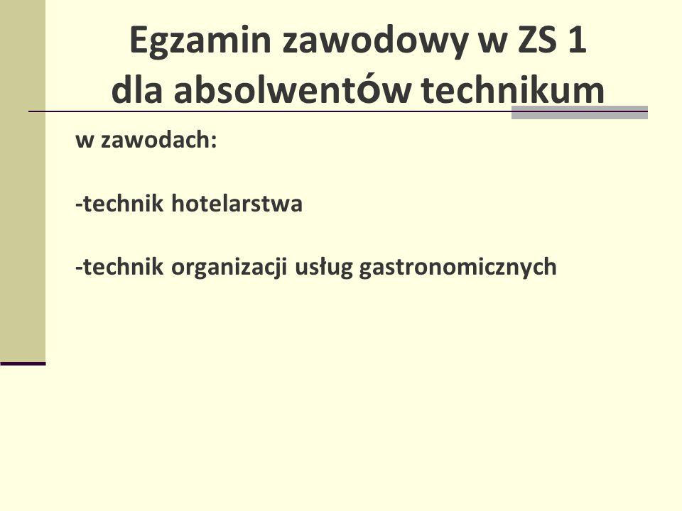 Egzamin zawodowy w ZS 1 dla absolwent ó w technikum w zawodach: -technik hotelarstwa -technik organizacji usług gastronomicznych