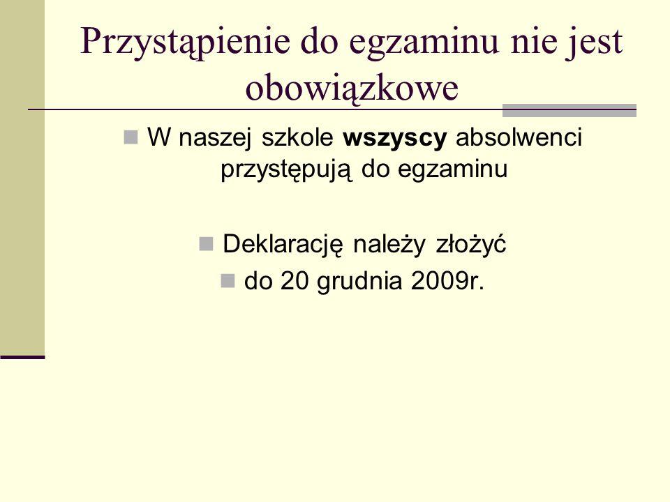 Przystąpienie do egzaminu nie jest obowiązkowe W naszej szkole wszyscy absolwenci przystępują do egzaminu Deklarację należy złożyć do 20 grudnia 2009r.