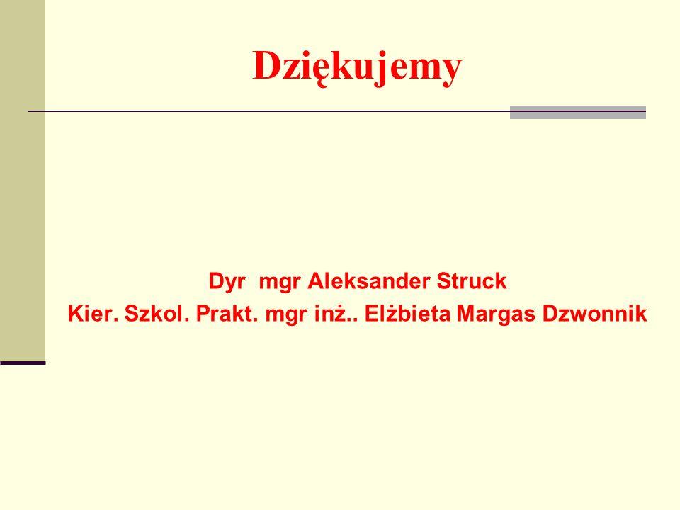 Dziękujemy Dyr mgr Aleksander Struck Kier. Szkol. Prakt. mgr inż.. Elżbieta Margas Dzwonnik