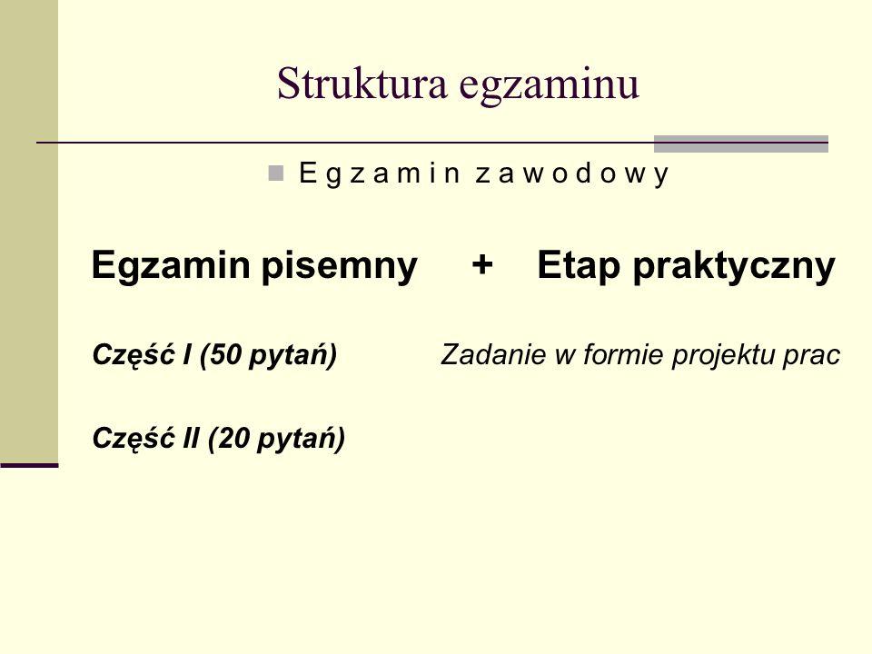 Struktura egzaminu E g z a m i n z a w o d o w y Egzamin pisemny + Etap praktyczny Część I (50 pytań) Zadanie w formie projektu prac Część II (20 pytań)