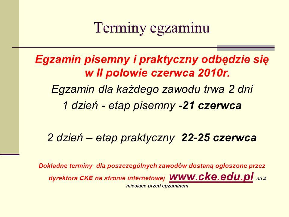 Terminy egzaminu Egzamin pisemny i praktyczny odbędzie się w II połowie czerwca 2010r.
