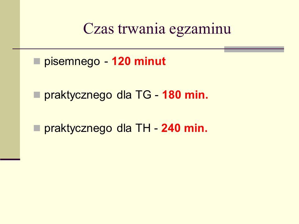 Czas trwania egzaminu pisemnego - 120 minut praktycznego dla TG - 180 min.