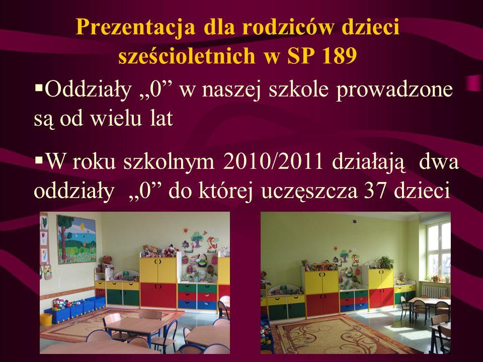 Prezentacja dla rodziców dzieci sześcioletnich w SP 189 Oddziały 0 w naszej szkole prowadzone są od wielu lat W roku szkolnym 2010/2011 działają dwa oddziały 0 do której uczęszcza 37 dzieci